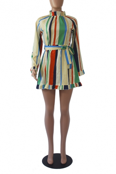 Women's Long Sleeve Stand Collar Colorful Stripes Bow-Tide Waist Mini A-Line Dress