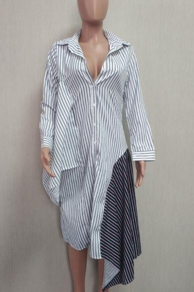 Women's Stylish Stripes Long Sleeve Lapel Collar Asymmetric Hem Midi Shirt White Dress