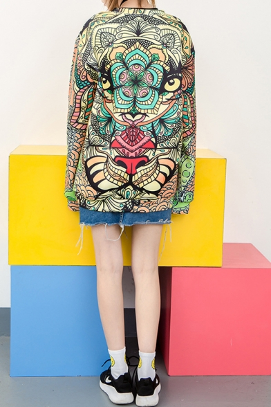 Womens Cool Colorful Monster Printed Round Neck Long Sleeve Pullover Sweatshirt