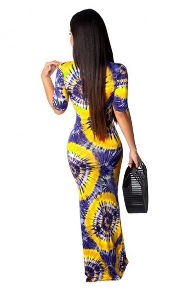 Womens Fashion Plunge Neck Short Sleeve Tie Dye Printed Maxi Bodycon Dress