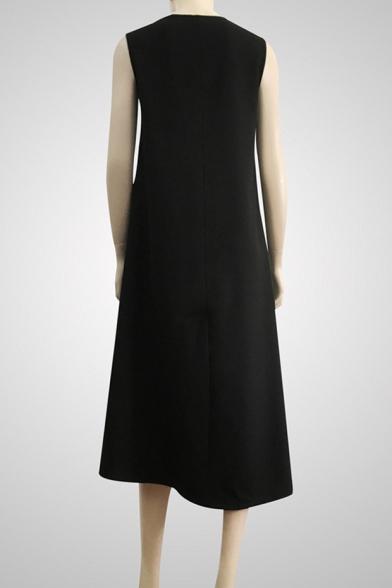 Womens Simple Plain Round Neck Sleeveless Button Embellished Gathered Waist Maxi A-Line Dress