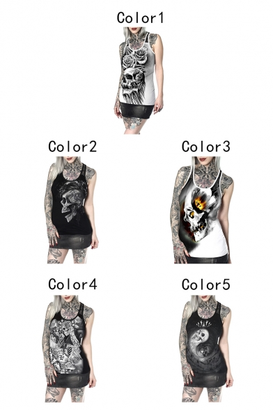 Womens Summer Cool Skull Printed Scoop Neck Sleeveless Fitted Tank Top