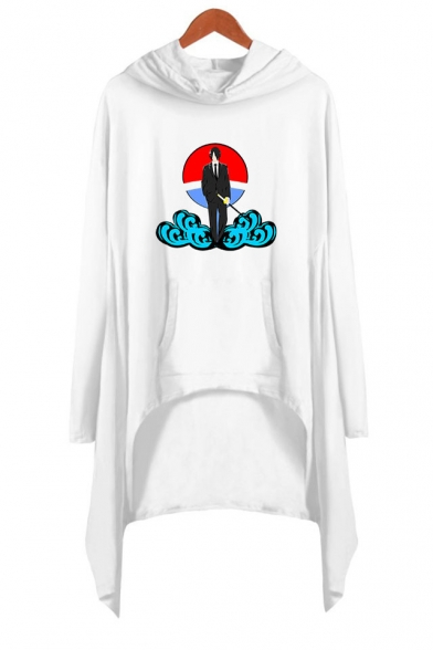 Womens Trendy Comic Figure Cloud Printed Long Sleeve Asymmetrical Casual Hooded Dress