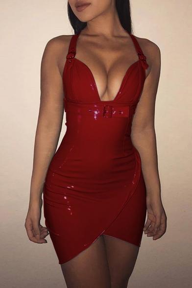 Womens Trendy Simple Plain Sexy Plunged V-Neck Open Back Mini Bodycon Night Club PU Dress