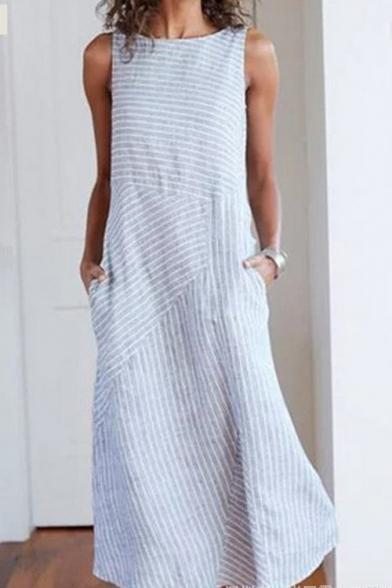 Basic Simple Fashion Striped Printed Round Neck Sleeveless Maxi Swing Dress with Pocket