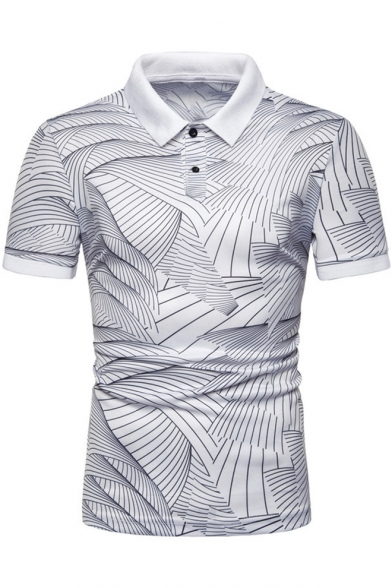 Chic Sea Wave Pattern Basic Short Sleeve Turn Down Collar Mens Slim Fit Polo Shirt