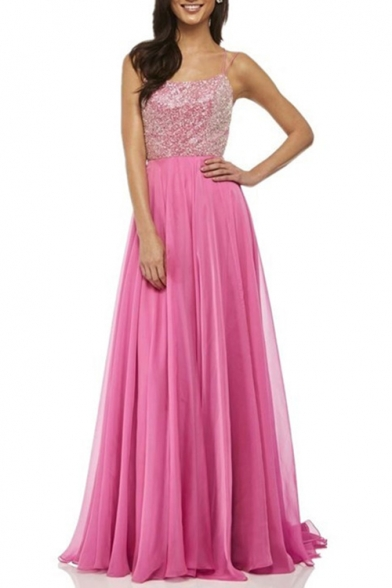 Chic Solid Color Sequined Patched Crisscross Open Back Chiffon Floor Length Cami Dress Evening Gown for Women