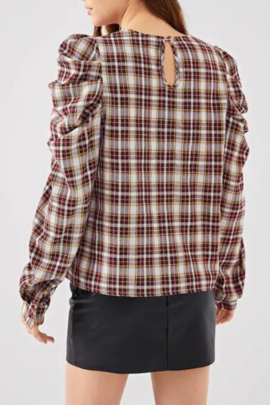 Classic Plaid Pattern Round Neck Unique Puff Long Sleeve Casual Blouse for Women