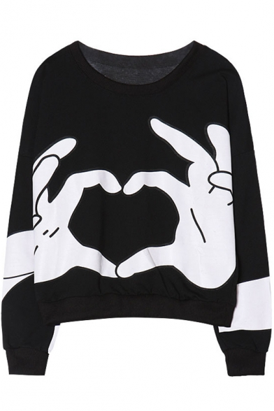 Cool Funny Finger Heart Gesture Printed Round Neck Long Sleeve Pullover Casual Sweatshirt