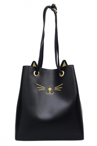 Cute Cartoon Cat Pattern Large Capacity PU Leather Tote Shoulder Bag 28*11*28 CM