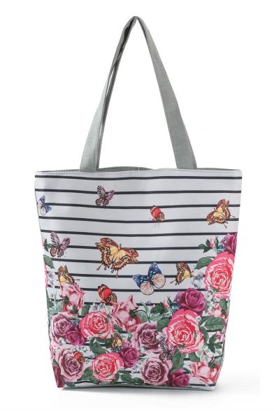 Designer Fashion Floral Butterfly stripe Printed White Canvas Shoulder Bag 27*11*38 CM