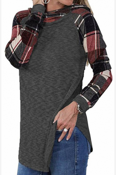 Fancy Plaid Print Long Sleeve Asymmetrical Hem Fitted Hoodie for Women