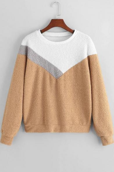 Fashion Color Block Round Neck Long Sleeve Fluffy Sweatshirt
