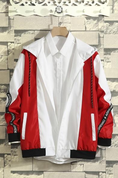 Guys New Trendy Color Block Letter Pattern Long Sleeve Zip Up Leisure Hooded Sport Track Jacket Coat