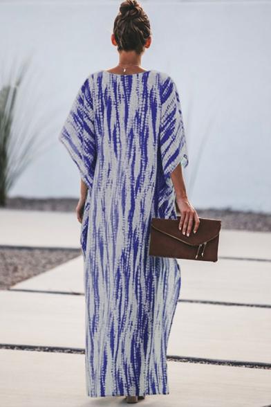 Hot Fashion Lapel Collar Batwing Sleeve Tie-dye Printed Asymmetric Hem Maxi Loose Dress