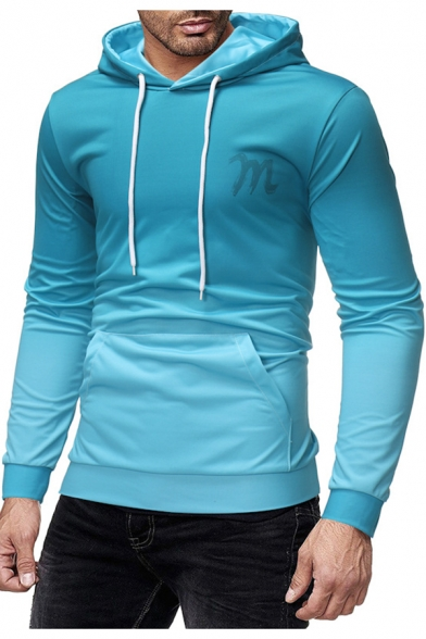 Men's New Stylish Ombre Printed Long Sleeve Drawstring Sky Blue Hoodie