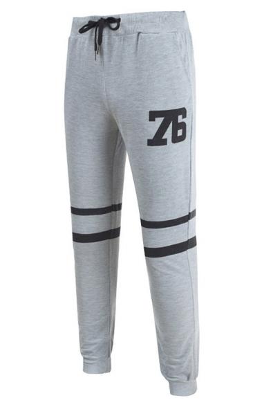 Mens Simple Number 76 Striped Printed Drawstring Waist Sport Slim Fit Trousers Pants