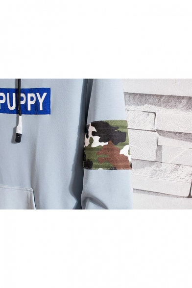 New Stylish THE PUPPY Letter Camouflage Printed Long Sleeve Loose Casual Hoodie