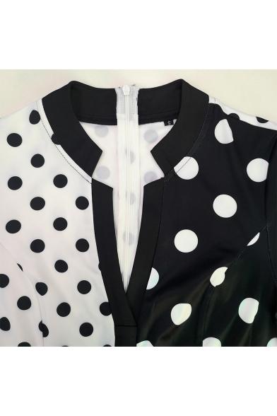 New Stylish Two-Tone Colorblocked Polka Dot Pattern Short Sleeve V-Neck Maxi Sheath Dress