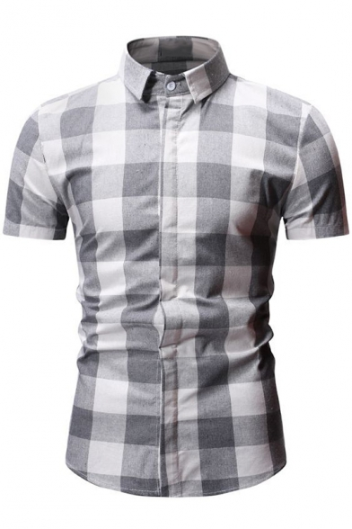 Domple Mens Short Sleeve Plaid Print Casual Button Up Slim Fit Shirt