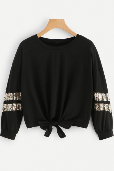 New Trendy Plain Round Neck Long Sleeve Sequined Embellished Bow Tie Cropped Pullover Sweatshirt