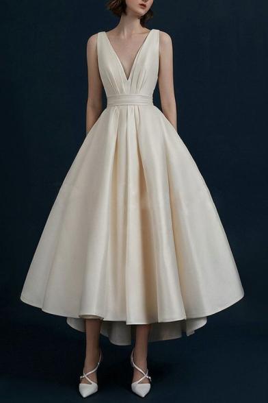 New Trendy Sexy Plunge Neck Sleeveless Plain Midi Slip Swing Beige Dress