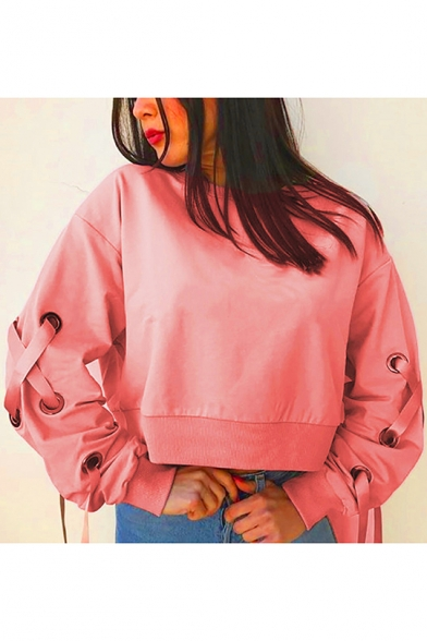 Pink Round Neck Lace-up Ribbon Long Sleeve Cropped Sweatshirt