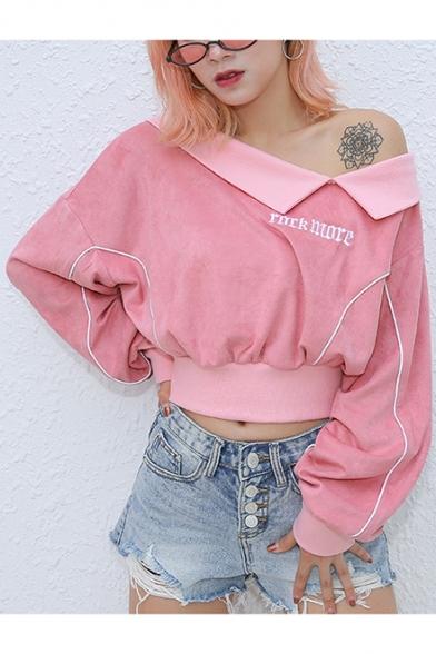Popular Cool Letter ROCK MORE Embroidery Cold Shoulder Long Sleeve Pink Crop Sweatshirt