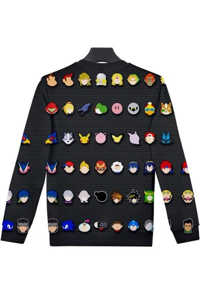 Popular Game Comic Character Printed Basic Round Neck Long Sleeve Black Sweatshirt
