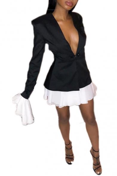 Sexy New Trendy Long Sleeve Plunge Neck Plain Mini Black Shirt Dress For Women