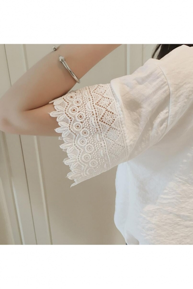 Summer Chic Lace-Trimmed V-Neck Short Sleeve Casual Loose Chiffon Blouse Top