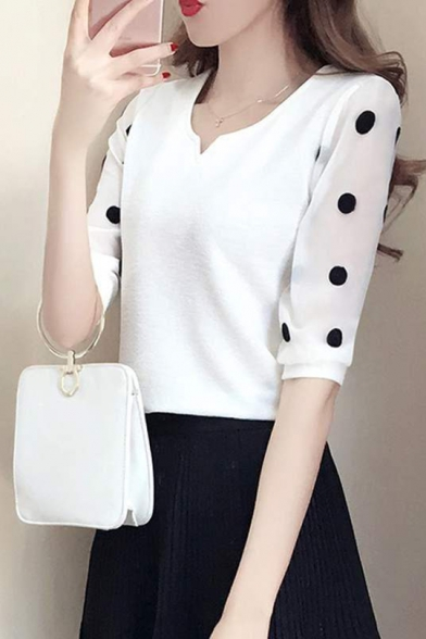 Baycheer / Summer Chic Polka Dot Printed V-Neck White Fitted Chiffon Top