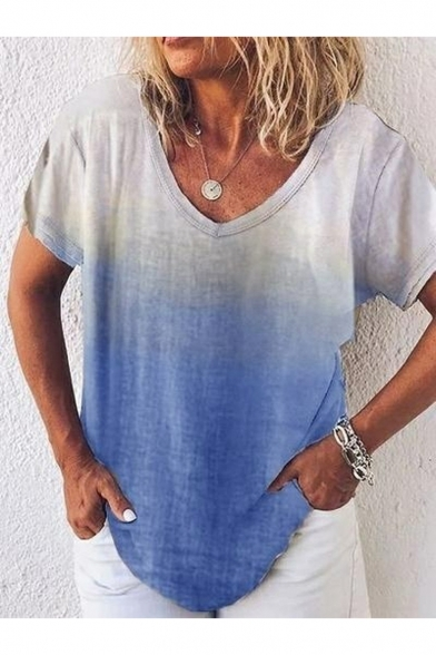 Summer Chic Simple Plain Ombre Color V-Neck Short Sleeve Casual Loose T-Shirt