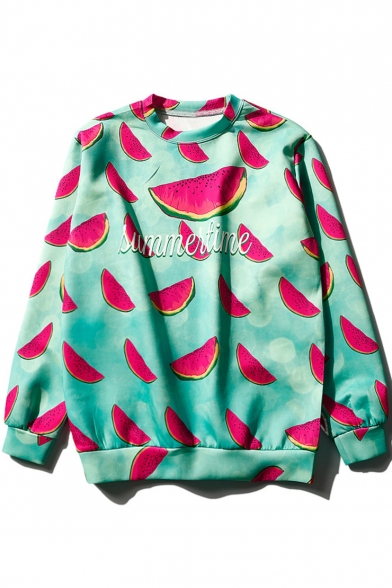 Summer Cool Allover Watermelon Printed Letter SUMMERTIME Long Sleeve Blue Casual Sweatshirt