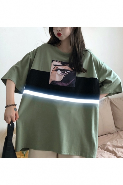 Summer Cool Comic Eye Printed Reflective Tape Patched Oversized Loose Tunic T-Shirt