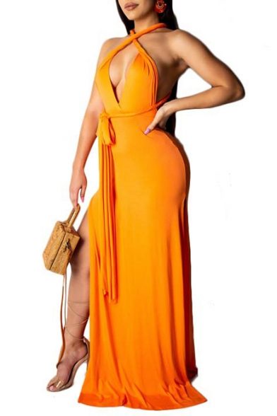Summer Fashion Sexy Halter Plunge Neck Sleeveless Backless Plain Bow-Tied Waist Maxi Bodycon Nightclub Dress
