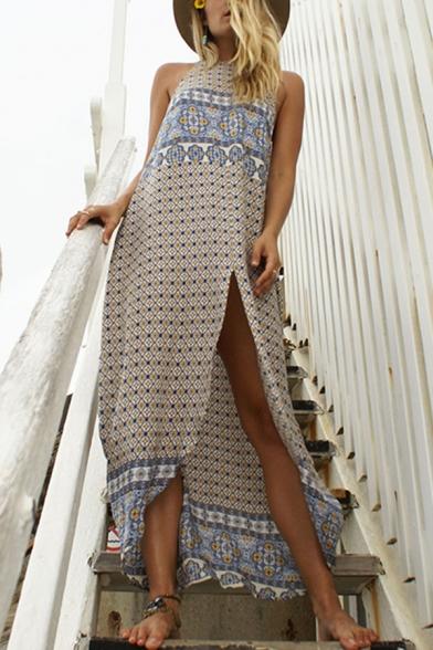Summer Holiday Tribal Printed Round Neck Sleeveless Split Front Maxi Beach Bohemian Dress