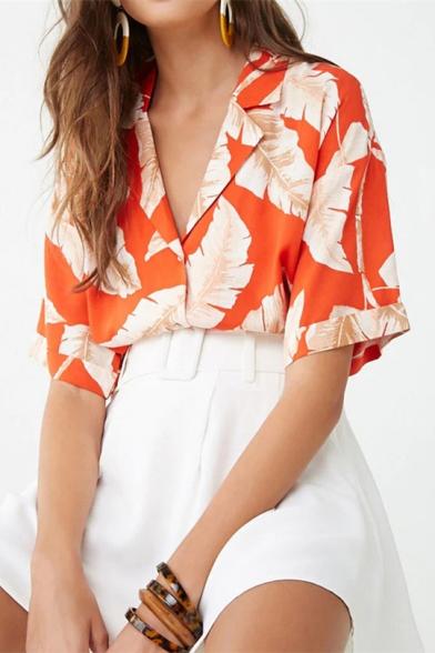 Summer Holiday Tropical Leaf Print Lapel Collar Short Sleeve Casual Button Beach Camp Shirt