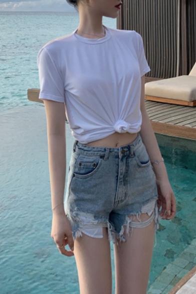 Summer Hot Popular Sexy Open Back Short Sleeve Casual Loose T-Shirt