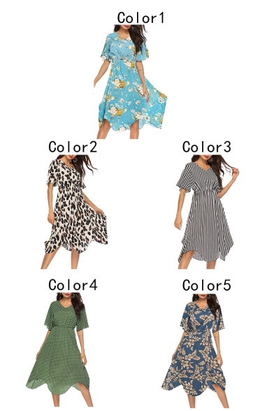 Summer Hot Popular V-Neck Short Sleeve Holiday Beach Chiffon A-Line Flowy Dress