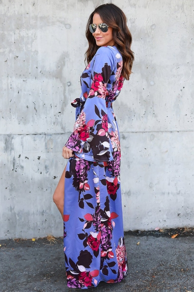 Summer Trendy Chic Floral Print Bell Long Sleeve Surplice V-Neck Tied Waist Blue Maxi Wrap Dress