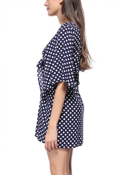 Summer Trendy Vintage Polka Dot Patter Sexy V-Neck Bow-Tied Front Mini Sheath Dress