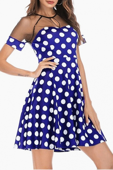 Trendy Polka Dot Pattern Mesh Panel Round Neck Short Sleeve Mini A-Line Dress
