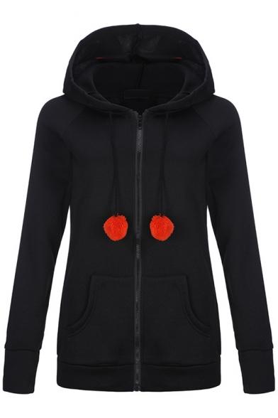 Women's Cute Cat Ear Drawstring Hood Zipper Front Long Sleeve Black Hoodie with Pocket