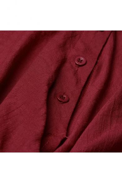 Women's Fashion Simple Plain V-Neck Long Sleeve Button Down Twist Hem Asymmetrical Shirt Blouse
