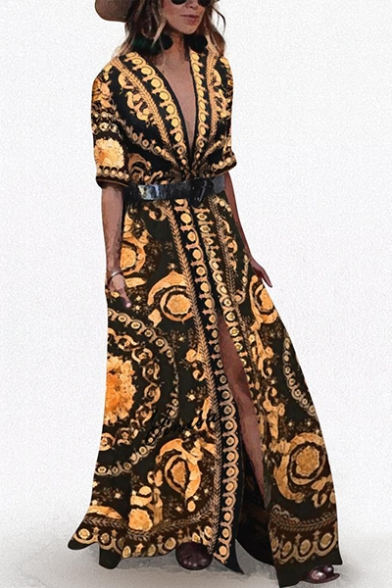Women's Hot Fashion V-Neck Half Sleeve Tribal Printed Split Side Belted Maxi Swing Black Dress