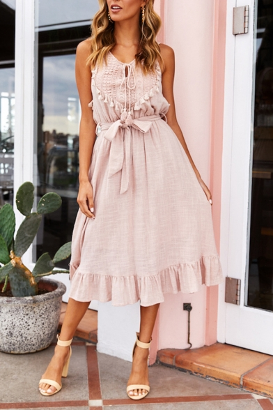 Women's Round Neck Sleeveless Lace Patch Plain Bow-Tied Waist Tassel Detail Tank Dress