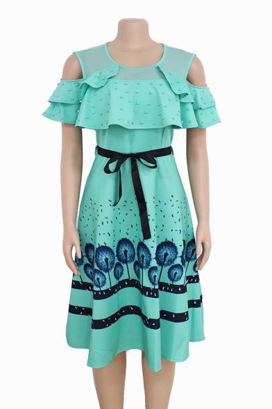 Women's Trendy Floral Print Cutout Short Sleeve Round Neck Bow-Tide Waist Beaded Detail Midi Swing Dress