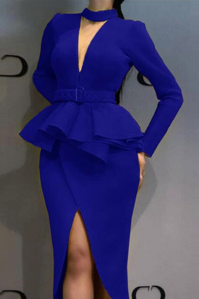 Women's V Neck Long Sleeve Belt Waist Split Front Plain Midi Ruffle Pencil Dress