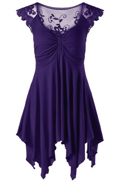 Womens Chic Lace Panel V-Neck Solid Color Mini Pleated Asymmetrical Dress